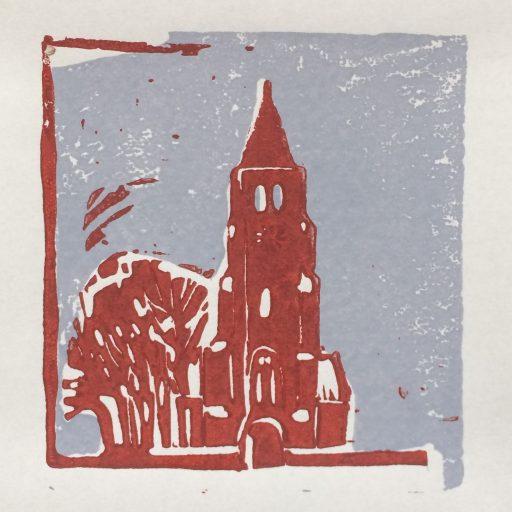 Torentje 2017 Linodruk op papier 10 x20 cm