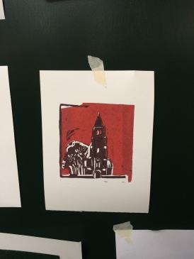 Torentje 2017 Linodruk op papier 10 x 20 cm