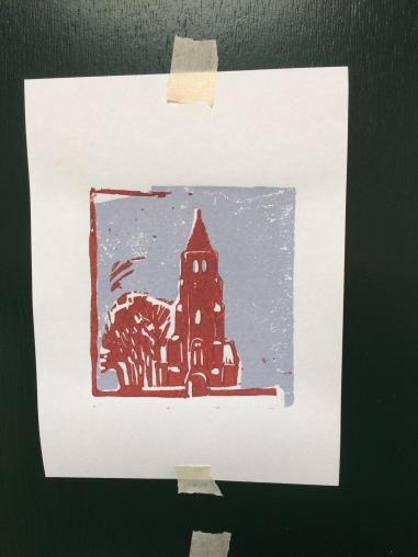 Torentje 2017 linodruk op papier 10 x 15 cm