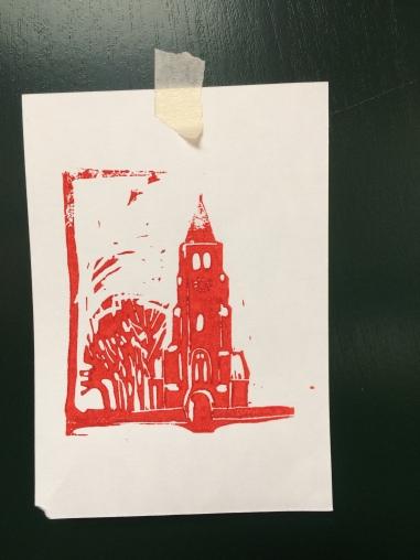 Torentje 2017 linodruk op papier 10 x 15