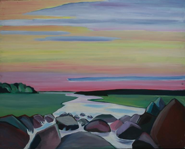 roze lucht stenen landschap