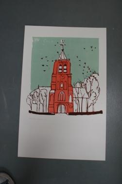Kauwtjes in de toren 2017 Linodruk op papier 40 x 65 cm