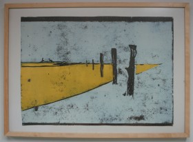 In wit 2006 Gemengde techniek Linodruk en acryl op papier 60 x43 cm