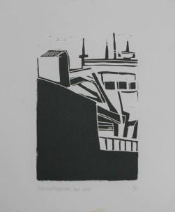 Hopper 2005 Linodruk op papier 20 x30 cm