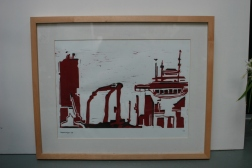 Hopperzuiger 2005 linodruk op papier 50 x 33 cm