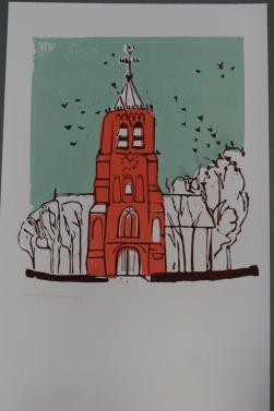 Kauwtjes in de toren 2017 3 kleuren linodruk op papier 40 x 65 cm