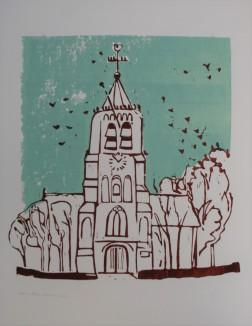 Kauwtjes in de toren 2017 2 kleuren laag Linodruk op papier 40 x 60 cm