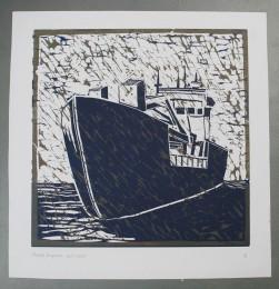 Bagger 2005 Linodruk op papier 50 x50 cm