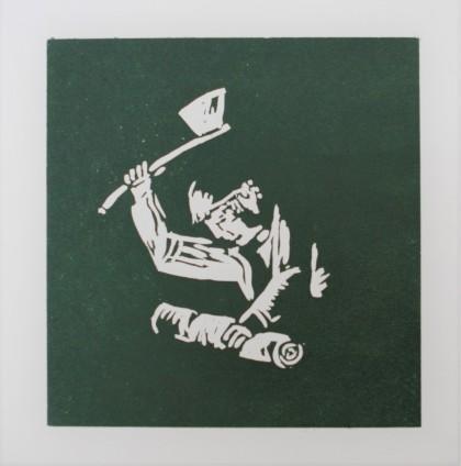 Houthakker Linodruk op papier 20 x20 cm